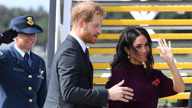 The couple departing Sydney on Sunday morning.
