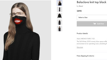 A screenshot taken on Thursday from an online fashion outlet showing the Gucci turtleneck black wool balaclava sweater.