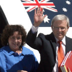Kevin Rudd steps off the prime ministerial plane in 2008.