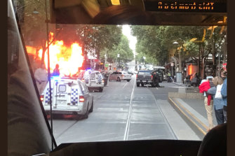 The attack was witnessed by passengers on a tram travelling down Bourke Street.