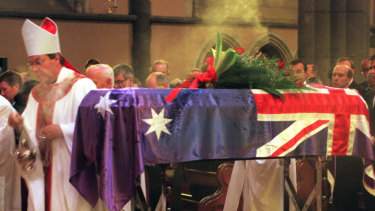 Then archbishop of Melbourne George Pell officiates at the funeral of B.A. Santamaria  at St Patrick's Cathedral in 1998.