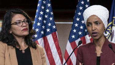 US Representative Rashida Tlaib and US Representative Ilhan Omar.