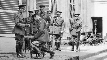 King George V knighting Lieutenant General John Monash.