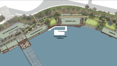The location of the Howard Smith Wharves ferry terminal to open in 2020.