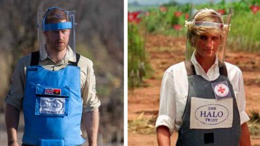 Transparent protection: Prince Harry walks through a minefield in Dirico in Angola. Right: Princess Diana in 1997.