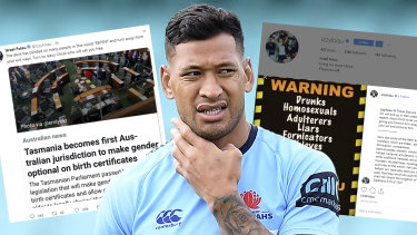 Israel Folau's social media posts.