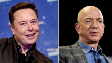 Rivals in space and on earth: Tesla chief Elon Musk and Amazon founder Jeff Bezos.