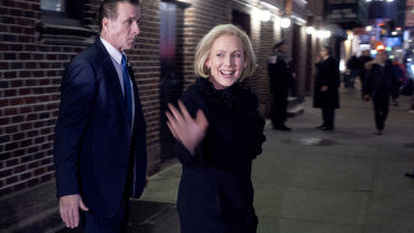 """Senator Kirsten Gillibrand leaves the after taping """"The Late Show with Stephen Colbert"""", during which she announced that she is forming an exploratory committee."""