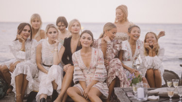 Bambi Northwood-Blyth (front and centre) with fellow aesthetically-pleasing friends in St Tropez with Zimmermann.