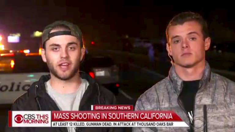 Matt Wennerstrom, left, and Cole Knapp, following the shooting in Thousand Oaks, California.