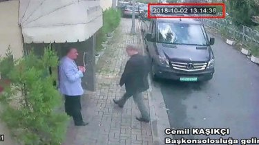 Saudi journalist Jamal Khashoggi entering the Saudi consulate in Istanbul, Tuesday, October 2, 2018.