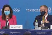 Queensland Premier Annastacia Palaszczuk and Australian Olympic Committee president John Coates speak to media.