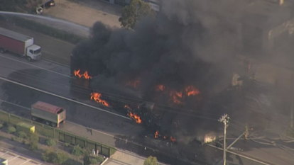 Truck drivers' 'miracle' escape as toxic smoke prompts evacuations