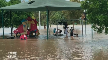 Raising rivers flooded roads, parks and playgrounds
