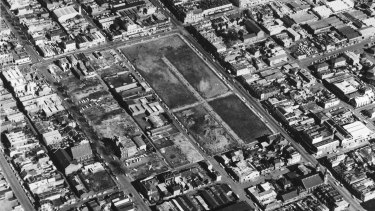 An aerial view of the Fitzroy slum clearance in preparation for construction of the Atherton Gardens estate.