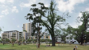 An artist's impression of the 17-storey residential tower overlooking Princes Park.