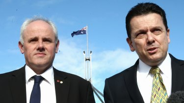 "John Madigan, left, pictured with  Nick Xenophon, who called him ""a man of enormous integrity""."