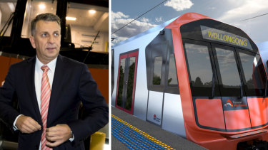 Transport Minister Andrew Constance and an artist's impression of an intercity train.