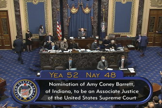 The vote total in the US Senate on the confirmation of Amy Coney Barrett to become a Supreme Court justice.