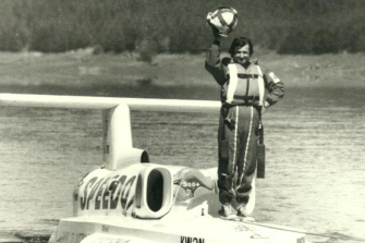 Ken Warby on the water for his water speed record.