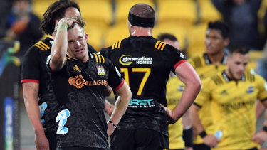 Missed opportunity: Damian McKenzie takes in defeat and the end of the Chiefs' season after full-time.