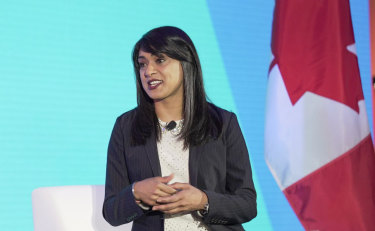 Bardish Chagger, leader of the Candian government in the house of commons and the former minister of small business, speaking at DWEN.