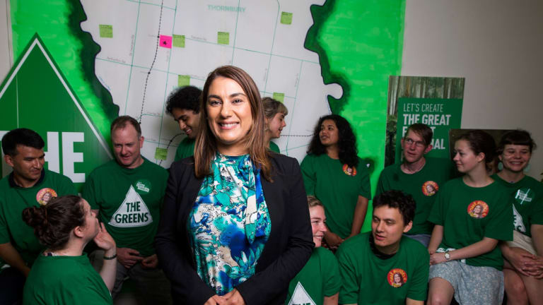 Lidia Thorpe and the Victorian Greens are celebrating a win after the Northcote by-election, taking the seat from Labor who have held the area for 90 years. Photograph Paul Jeffers The Age NEWS 19 Nov 2017