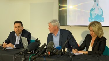 Wikileaks has discovered an extensive 'spying operation' against Julian Assange. From left Fidel Narvaez, former consul of Ecuador to London; Kristinn Hrafnsson, Editor-in-chief, WikiLeaks; Jennifer Robinson, Julian Assange's barrister.