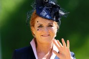 Sarah Ferguson arrives for the wedding ceremony of Prince Harry and Meghan Markle at Windsor Castle in May.