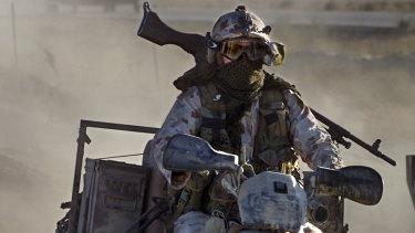 An SAS soldier on patrol near Bagram, Afghanistan.
