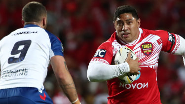Tonga captain Jason Taumalolo targets England hooker Josh Hodgson in Hamilton on Saturday night.