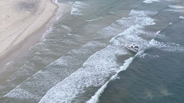 The 56-foot vessel washed up on the northern tip of Bribie Island, 90 kilometres north-east of Brisbane.