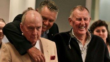 2GB presenters Alan Jones and Ray Hadley with station shareholder John Singleton.