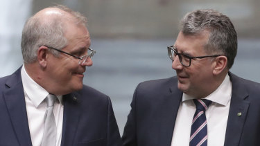 Prime Minister Scott Morrison and Resources Minister Keith Pitt in Parliament House.