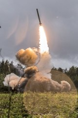 A Russian Iskander-K missile launched during a military exercise in 2017.
