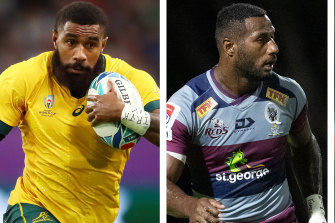 Marika Koroibete playing for the Wallabies and Suliasi Vunivalu for the Reds.