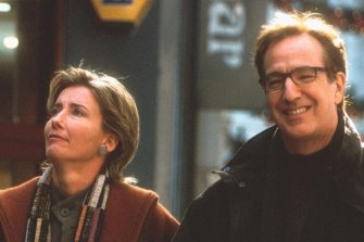 Emma Thompson and Alan Rickman in a scene from Love Actually (2003).