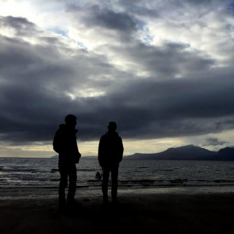 The author and his brother at Scalpsie Bay, Bute, Scotland, with the Isle of Arran behind.