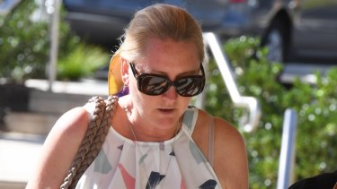 Nichole Brimble, who noticed Maria Lutz had not shown up for school canteen duty, outside the Coroners Court on Monday.
