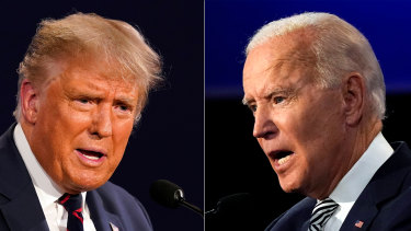 Donald Trump, left, has been dismissive of COVID while Joe Biden has taken precautions with his campaigning.