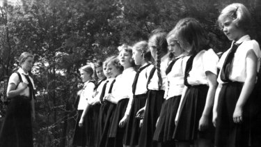 Young girls of the Hitler Youth during a Sunday excursion during the 1933-45 Nazi dictatorship.