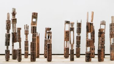 Pukumani burial poles at the Art Gallery of NSW.