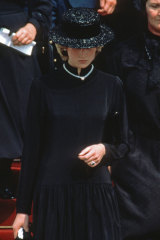 Princess Diana at the funeral of Princess Grace of Monaco in 1982.