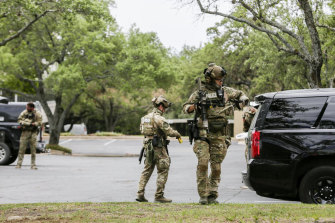 Authorities at the scene of the shooting in Austin, Texas on Sunday.