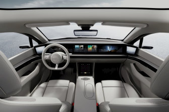The interior of the Vision-S is filled with Sony tech.