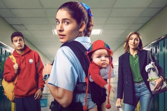 Nathalie Morris (centre) stars as Oly, with Carlos Sanson Jr as the father of her unexpected child and Claudia Karvan as her mother.