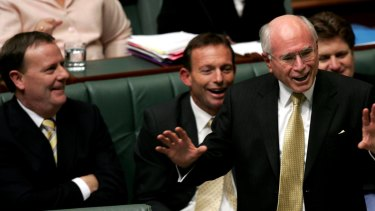 Then Treasurer Peter Costello and Prime Minister John Howard in House of Representatives, 2007.