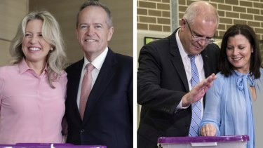 Bill Shorten and wife Chloe, left, and Scott Morrison and wife Jenny, right, voting on Saturday.