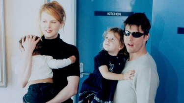 Nicole Kidman and Tom Cruise with children Bella and Connor in 1996.