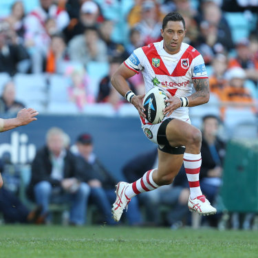 Benji Marshall in his first game against the Wests Tigers, playing for the Dragons in 2014.